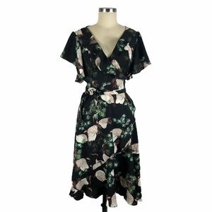 UNIQUE VINTAGE Black Crane Print Luella Wrap Dress